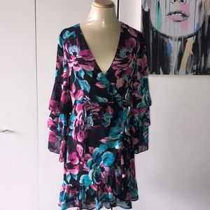 Charles Henry Multicolor Wrap Dress